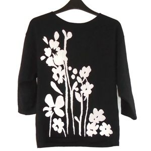 Jones New York Floral Sweater Black White Large